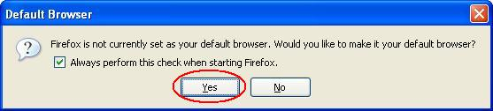 Firefox Default Browser Selection Screen