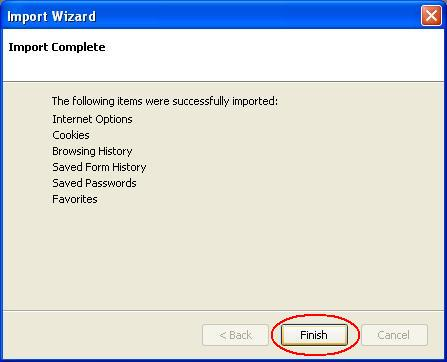 Firefox Import Wizard Confirmation Screen