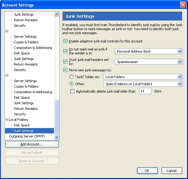 Optimal Settings for Thunderbird Junk Mail Controls